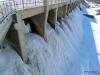 Frozen spillway, Seven Sisters Dam, Whiteshell Provincial Park, Manitoba