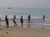Hikkaduwa fishermen pulling in nets