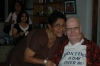 Dottie and Sir Arthur at his 90th birthday party, just months before Arthur passed away. Note the inscription on his t-shirt. Courtesy of Rohan De Silva