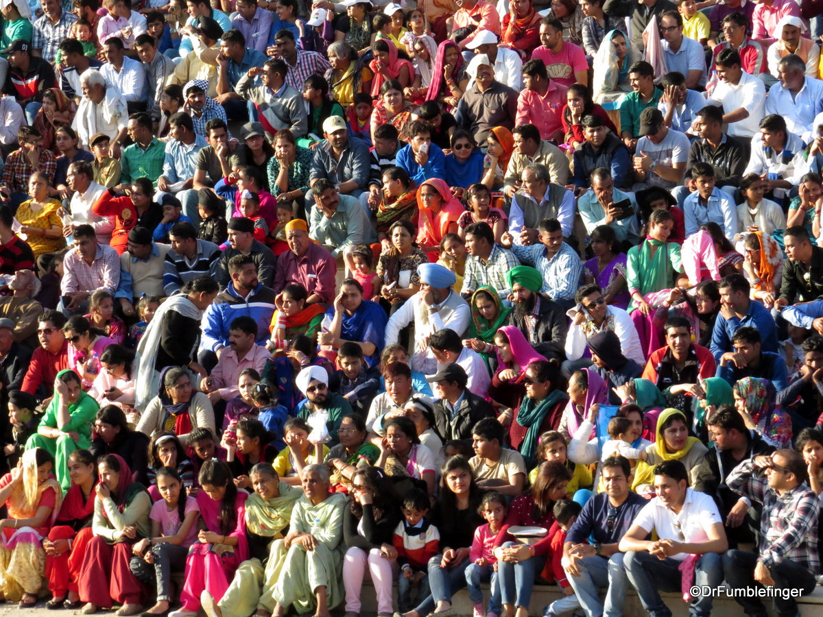 Crowd at flag lowering ceremony Wagah Border, India