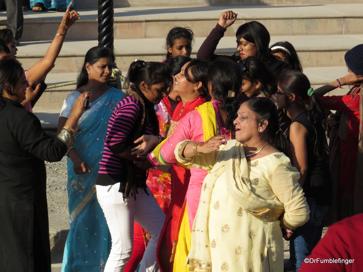 Crowd celebrating flag lowering ceremony Wagah Border, India