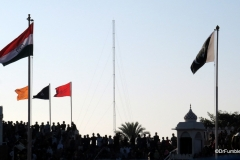 Flags flying over the Wagah Border, India and Pakistan