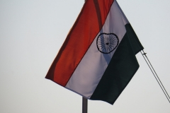 Flag flying over the Wagah Border, India