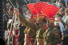 Uniformed guards at Wagah Border crossing