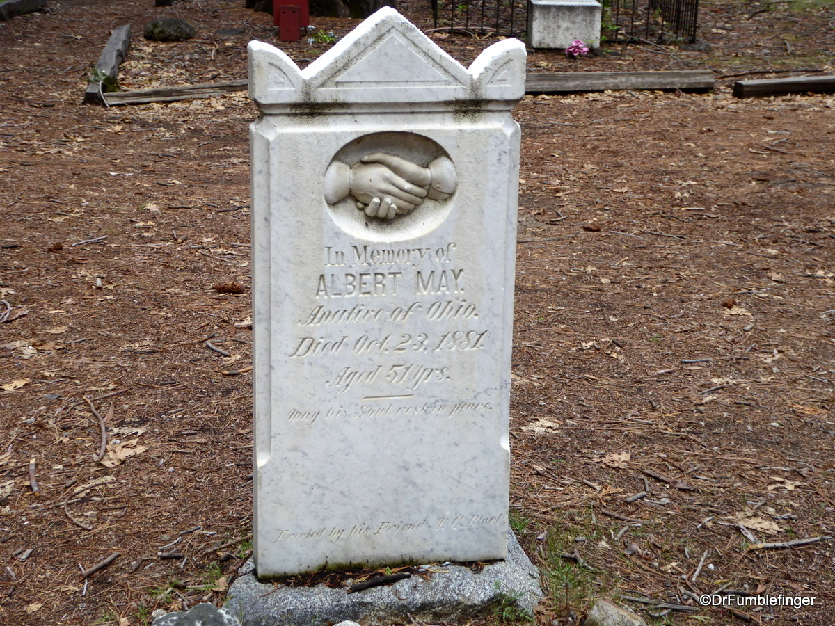 Pioneer Cemetery, Yosemite National Park.  Mr. May was a carpenter who worked at Black's Hotel near the base of Four Mile Trail