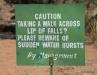 Warning sign, Zambian side