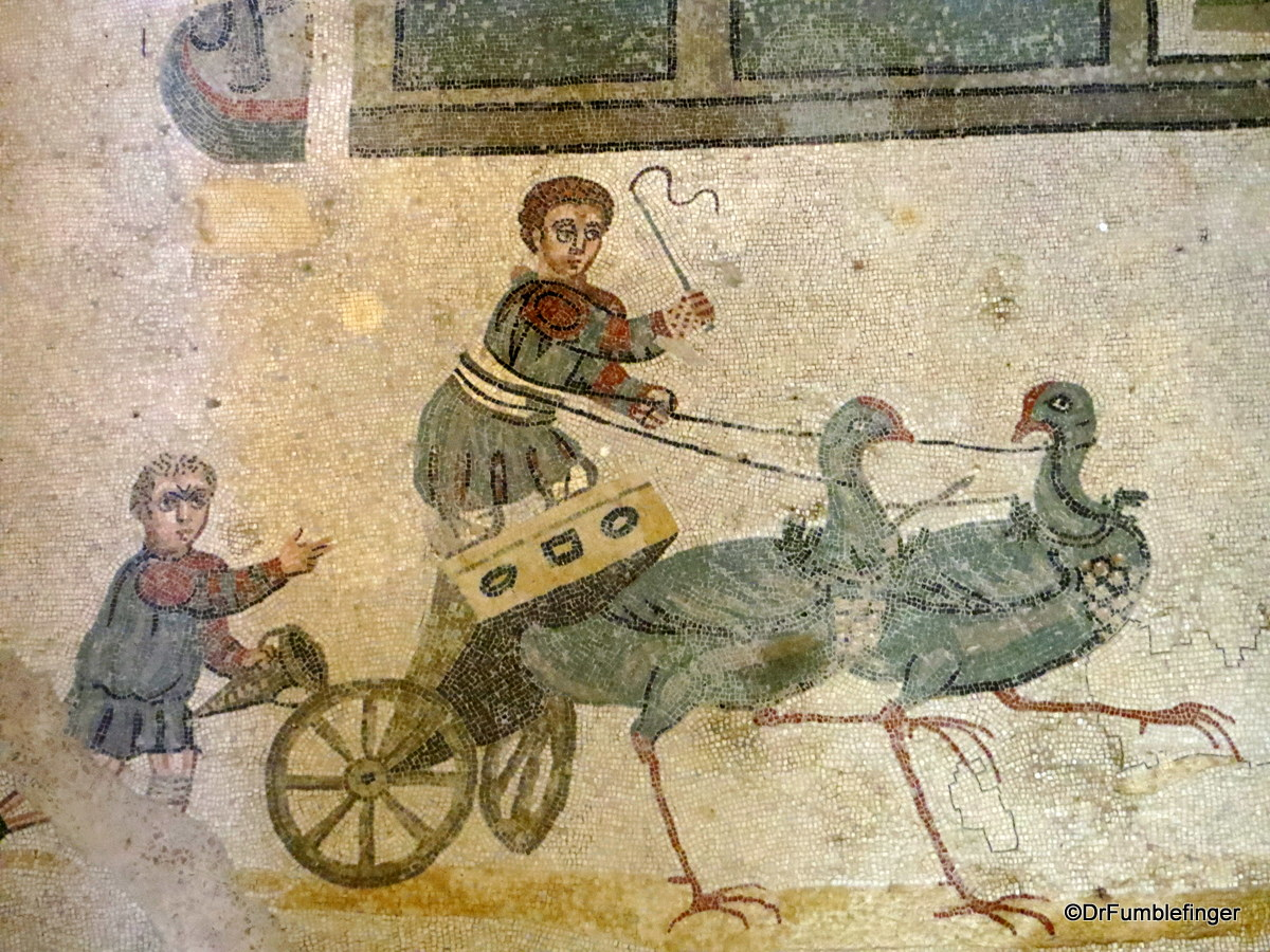 Children in small Chariot, pulled by fowl