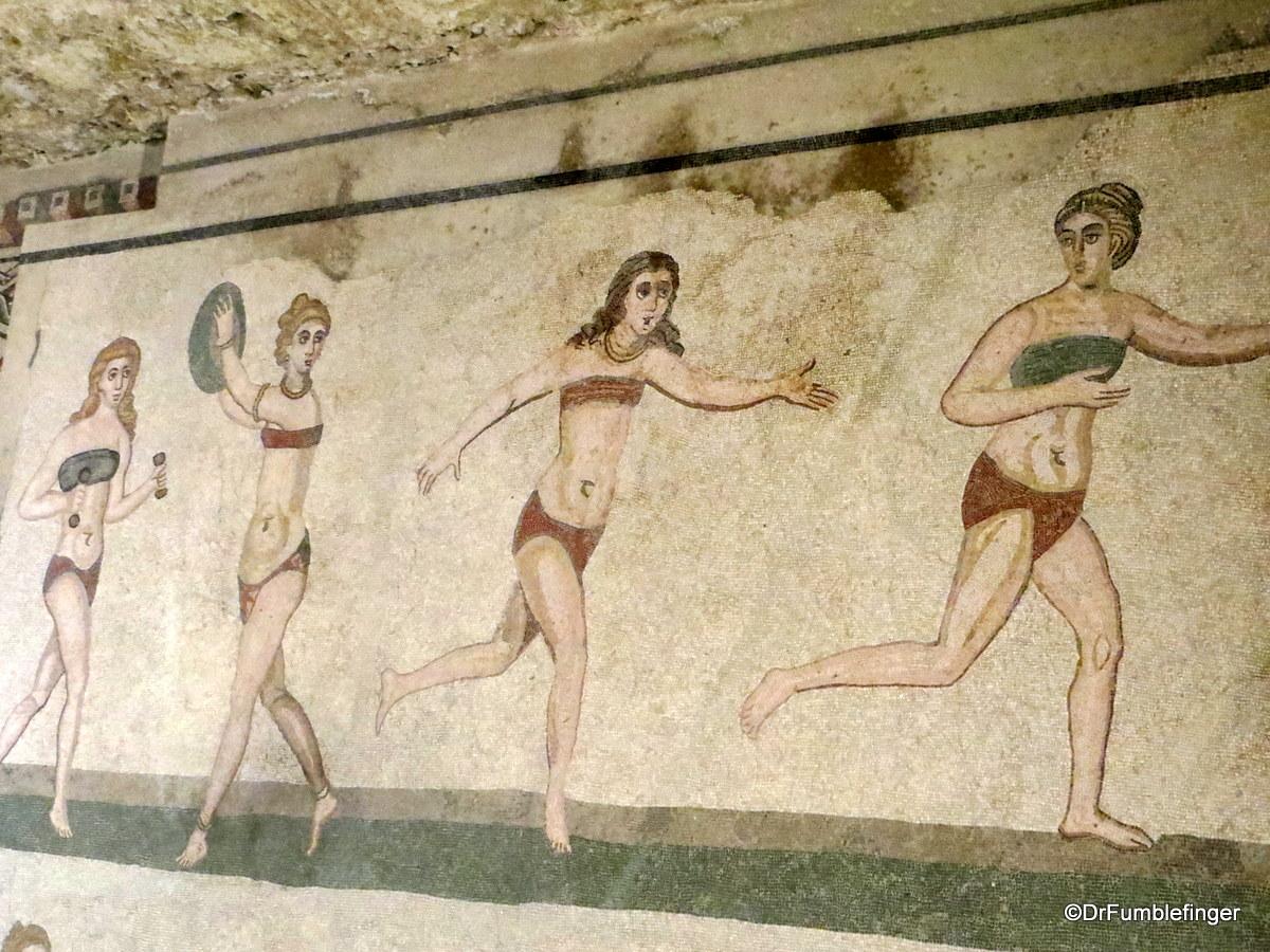Rare bikini clad mosaic, Villa Romana del Casale
