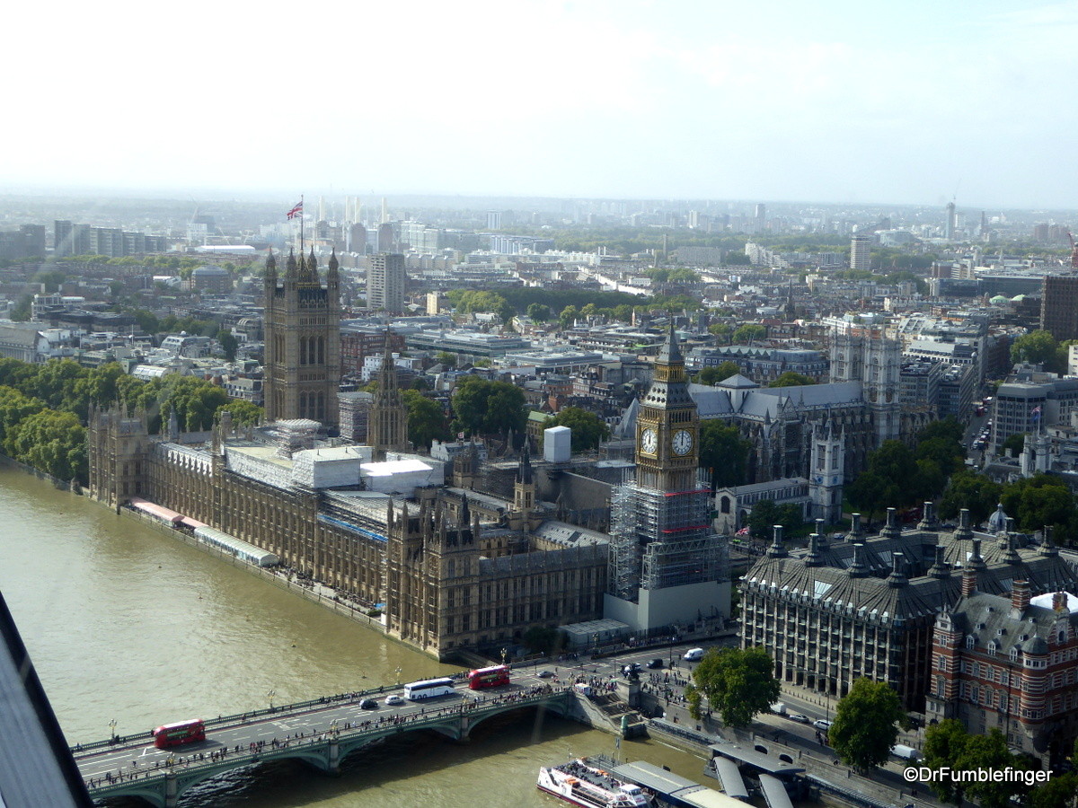 Houses of Parliament and River Thames, viewed from the London Eye