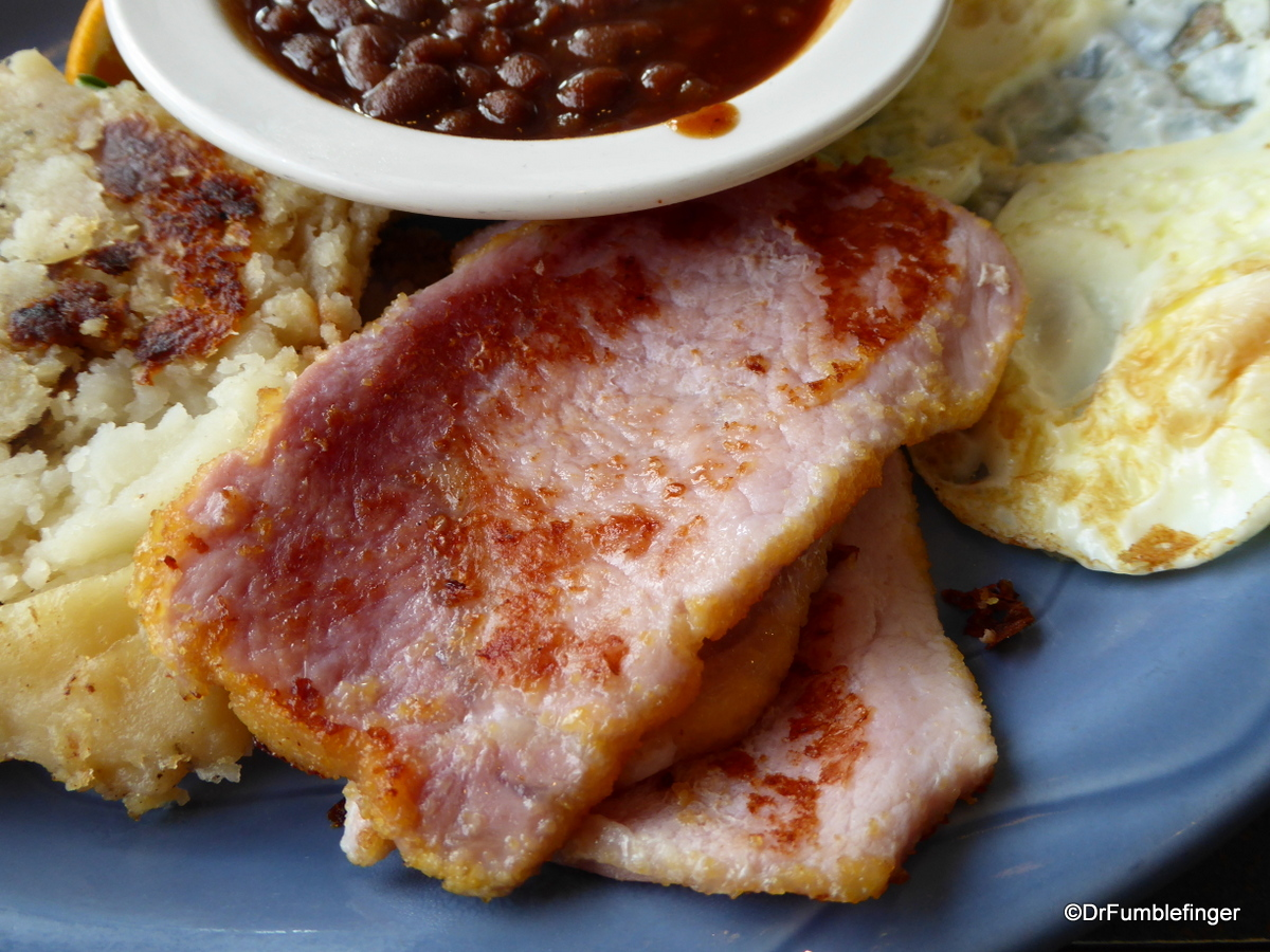 Peameal bacon, beans and eggs, Elgin street Diner