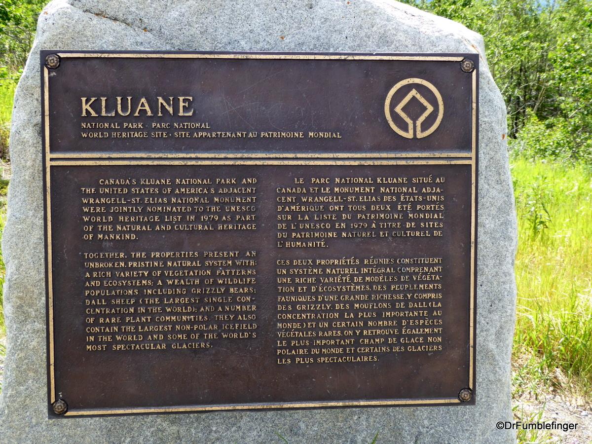 Kluane National Park's UNESCO plaque