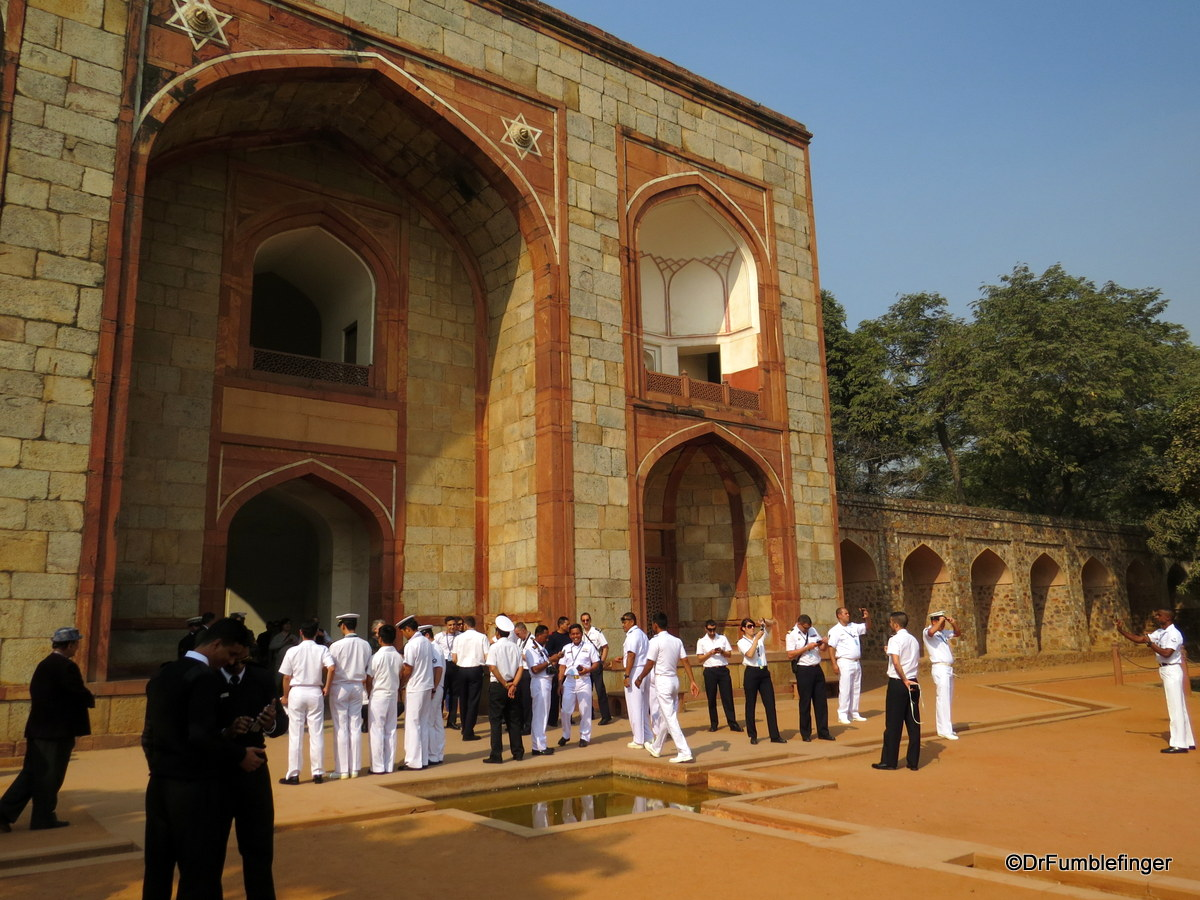 A group of sailors at the entrance to Humayun's Tomb