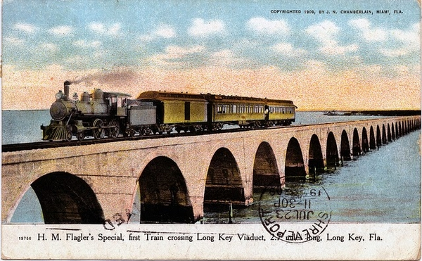 Old postcard of Flagler's railroad