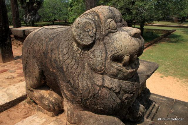 Lion outside the Council Chamber, Polonnaruwa