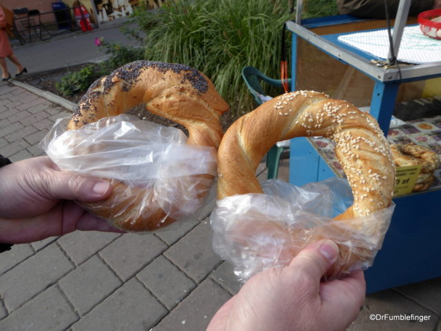(Obwarzanek Krakowski -- a bagel-like bread popular as street food in Krakow)